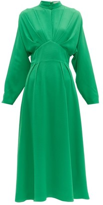 Emilia Wickstead Autumn Pleated High Neck Crepe Midi Dress - Womens - Green