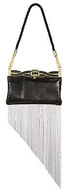 Gucci Women's Broadway Snakeskin Crystal Fringe Evening Bag