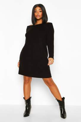 boohoo Plus Knitted Off The Shoulder Jumper Dress