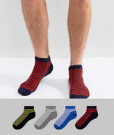 Jack and Jones Sneaker Socks 4 Pack with Stripe