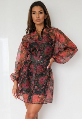 Missguided Black Floral Organza Balloon Sleeve Shirt Dress