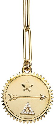 Foundrae Large Dream Medallion On Extended Clip Yellow Gold Necklace