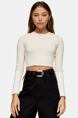 Topshop White Open Back Long Sleeve Top