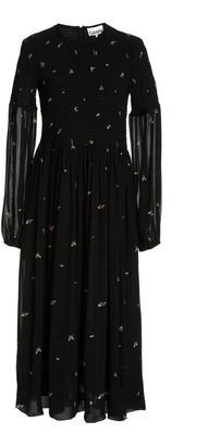 Ganni Printed Sheer-Sleeve Georgette Midi Dress
