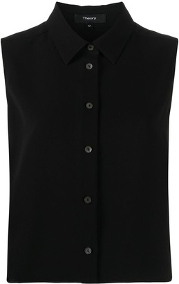 Theory Pointed Collar Sleeveless Shirt