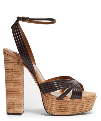 Aquazzura Sundance Plateau 140 Leather & Wood Heeled Sandals - Brown