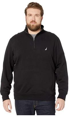 Nautica Big Tall Fleece Basic 1/4 Zip (True Black) Men's Sweater
