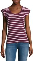 Lord & Taylor Petite Flutter Sleeve Ribbed Top