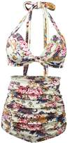 Dona Retro 50s Floral Halter High Waist Bikini Vintage Push Up Plus Size Swimsuit Swimwear Two Pieces XXXL