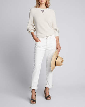 Brunello Cucinelli Crewneck Cotton Rib Long-Sleeve Sweater w/ Monili Accent