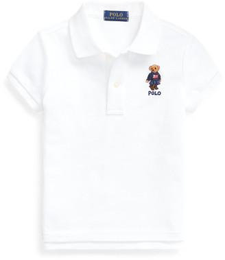 Ralph Lauren Flag Bear Cotton Mesh Polo