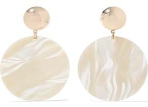Iris & Ink Florence 18-karat Gold-plated Marbled Acetate Earrings