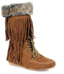 Nature Breeze Fringe Women's Moccasin Boots in Tan