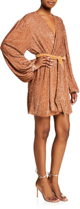 retrofete Gabrielle Sequined Wrap Dress