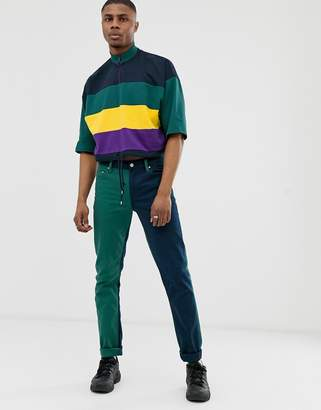 Asos Design DESIGN cropped oversized t-shirt with drawstring hem and half zip with colour block-Navy