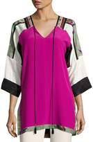 Etro Colorblock Silk Tunic Top, Fuchsia
