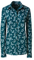 Lands' End Women's Tall Tailored No Iron Dress Shirt-Gemstone Teal/Ivory Print