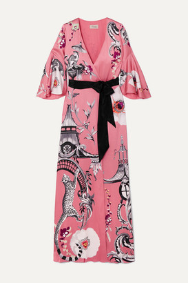 Temperley London Euphoria Printed Satin-crepe Wrap Maxi Dress - Pink