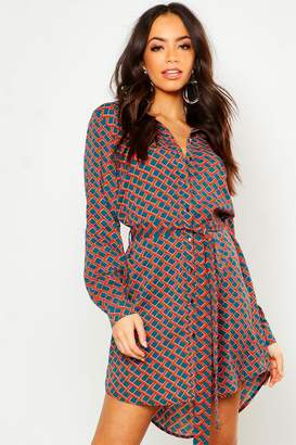 boohoo Mono Geo Button Woven Shirt Dress