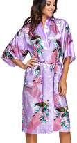 FLYCHEN Women's Satin Dressing Gowns Peacock and Blossoms Kimono Robes US 12-16 2XL