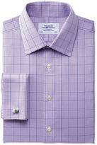 Charles Tyrwhitt Extra Slim Fit Non-Iron Prince Of Wales Lilac Cotton Formal Shirt Double Cuff Size 17.5/34