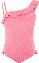 Accessorize Crochet One Shoulder Frill Swimsuit