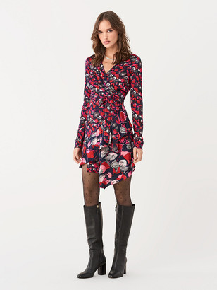 Diane von Furstenberg Elita Silk-Jersey Ruffled Mini Wrap Dress