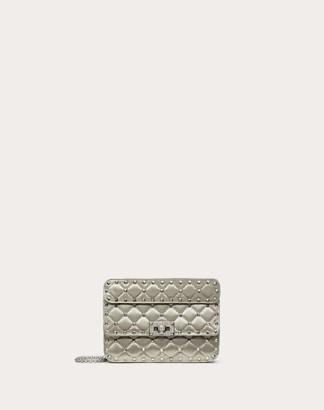 Valentino Garavani Small Spike.it Satin Chain Bag With Rhinestone Closure Women Light Grey Viscose 68%, Silk 32% OneSize