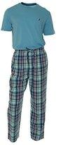 Nautica Men's Light Blue and Plaid Pant Pajama Set