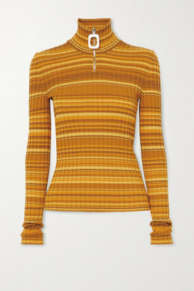 J.W.Anderson Striped Ribbed Wool-blend Turtleneck Sweater - Mustard