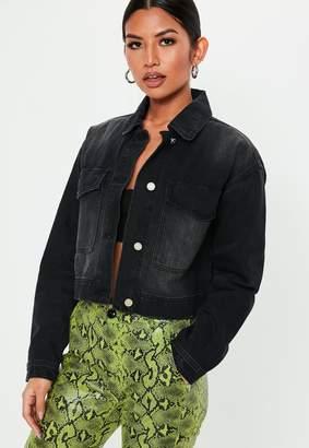 Missguided Tall Black Cropped Utility Pocket Denim Jacket