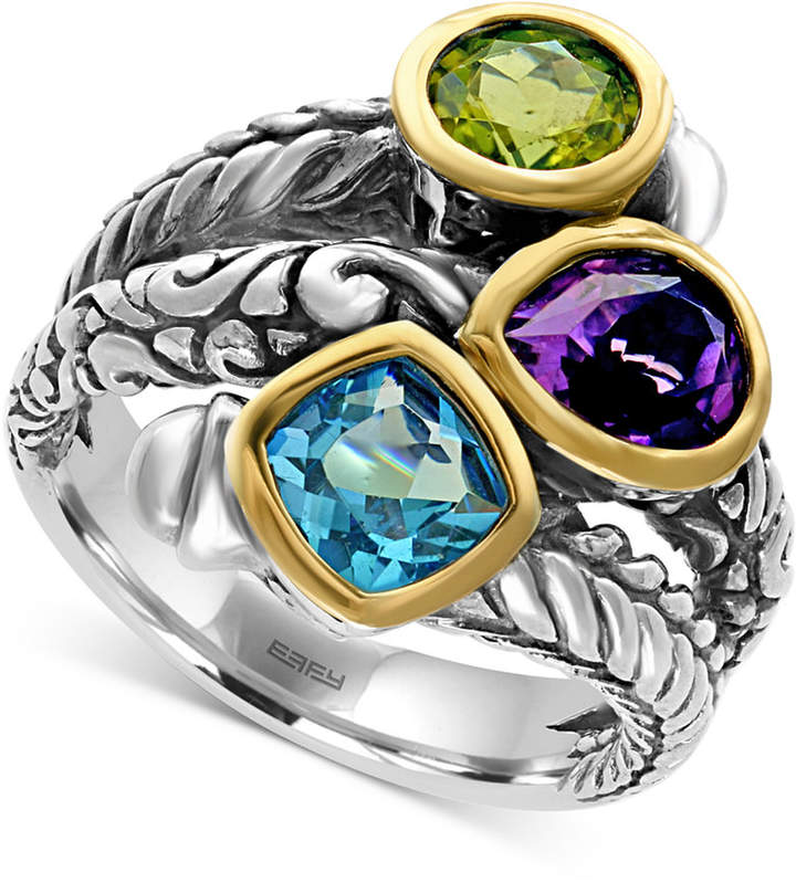 Effy Multi-Gemstone (3-1/4 ct. tw.) Statement Ring in Sterling Silver and 18k Gold