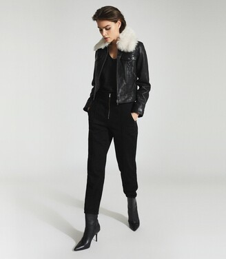 Reiss Shellie - Leather Jacket With Shearing Collar in Black
