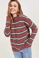 Ardene Fuzzy Striped Mock Neck Sweater