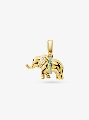 Michael Kors 14K Gold-Plated Sterling Silver Pave Elephant Charm