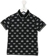 Dolce & Gabbana crown print polo shirt - kids - Cotton - 2 yrs