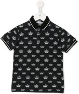 Dolce & Gabbana crown print polo shirt - kids - Cotton - 8 yrs