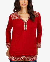 Lucky Brand Embroidered Illusion-Contrast Top