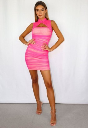 Missguided Pink Mesh Ruched High Neck Cut Out Mini Dress