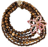 DSQUARED2 Crystal & Wood Bead Multistrand Necklace