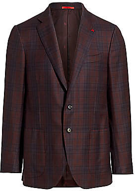 Isaia Men's Classic-Fit Delain Selection Plaid Wool Jacket