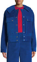 Cédric Charlier Snap-Front Oversized Velvet Corduroy Jacket