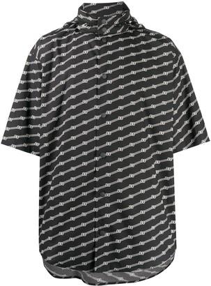 Balenciaga Logo Print Hooded Shirt