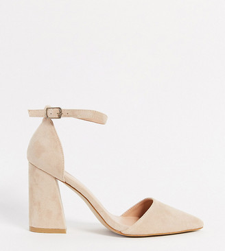 Glamorous Wide Fit block heeled court shoe in beige