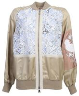 N°21 Beige Viscose Bomber Jacket With Contrasting Lace And Embroidery