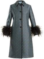 Prada Feather-trimmed wool-blend coat
