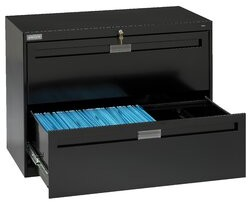 """Tennsco Corp. 2-Drawer Lateral filing cabinet Pull Type: Long Pull, Size: 27.56"""" H x 30"""" W x 17.94"""" D, Finish: Black"""