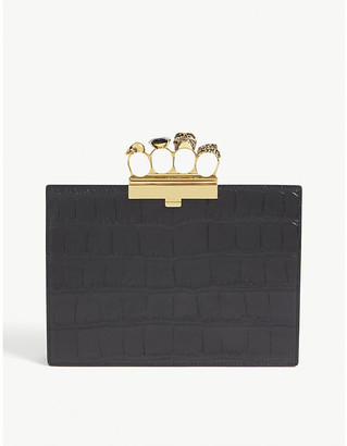 Alexander McQueen Four-ring small croc-embossed leather clutch