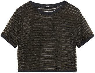 Koral Terrain Disconnect Cropped Metallic Striped Knitted Top