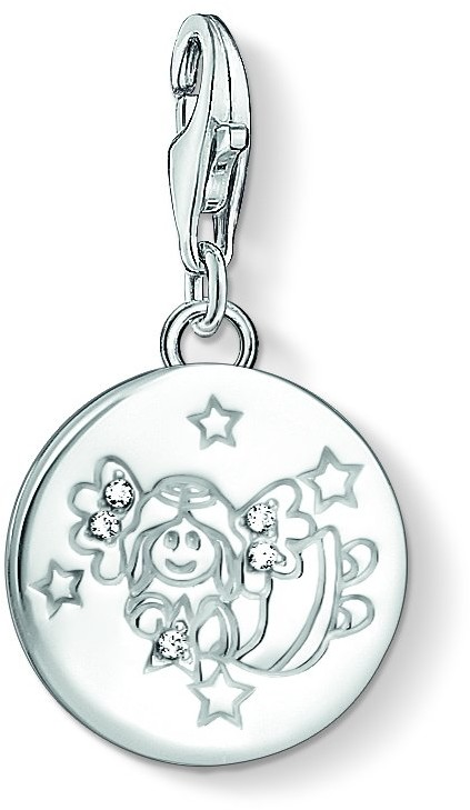 Thomas Sabo Women-Charm Pendant Little Angel Charm Club 925 Sterling silver Zirconia White 1389-051-14
